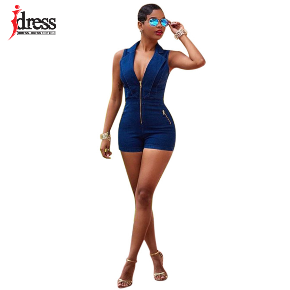 IDress Summer Deep V Neck Zippers Women Denim Playsuit Sleeveless Pockets Short Pant Ladies Bodycon Jumpsuit Party Romper Overall (6)