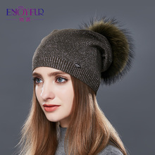 ENJOYFUR Real Raccoon Fur Pom Pom Hat Female Wool Knitted Winter Hats For Girls Thick Gravity Falls Women's Cap Skullies Beanies