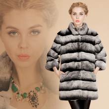 Luxury Top Quality New Chinchilla Fur Coat For Women Genuine Real rex rabbit fur coats Outerwear Natural Fur Overcoat 6XL(China)