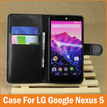 Luxury PU Leather Flip Cover For LG Google Nexus 5 Nexus5 Case Wallet With Stand Card Holder D820 Funda Mobile Phone Cases Coque(China)