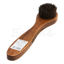 Long Wood Handle Bristle Horse Hair Brush Shoes Boot Polish Buffing Brush Care