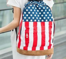 2015 Casual shipping , hot sale UK/USA flag canvas packbag /flag bag/student bag/school bag(China)