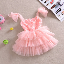 Shabby Flower Pink Kids Girl Dress Lavender Rosette Top Ruffles Princess Children Clothing Kids Girl Party Dress