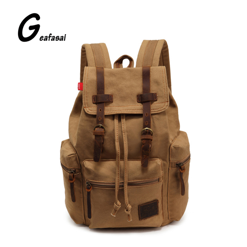 large capacity solid Khaki casual teenagers student men Vintage Canvas travel bivouac encamp mountaineering backpack school bag<br><br>Aliexpress