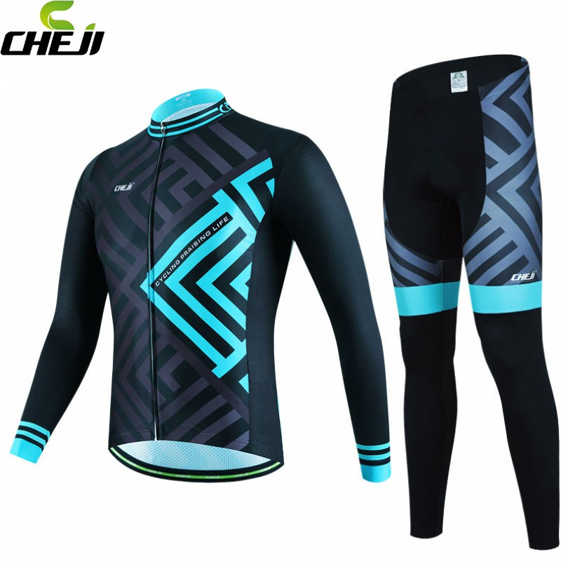 CHEJI Mens Breathable Ropa Ciclismo Cycling Jersey Bike Bicycle Long Sleeve Jacket Pants Set Black-Blue S-XXXL<br>