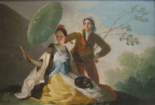 Free shipping 100% hand painted most famous artists painting reproduction goya oil painting The-Parasol