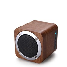 Portable Wood Radio FM Bluetooth Subwoofer Mini Desk Wireless Speakers with TF Card Aux IN
