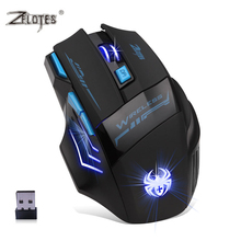 ZELOTES Brand F-14 Adjustable 2400DPI Game Mouse Professional Optical Wire 2.4G Wireless Gaming Mouse for Laptop PC computer