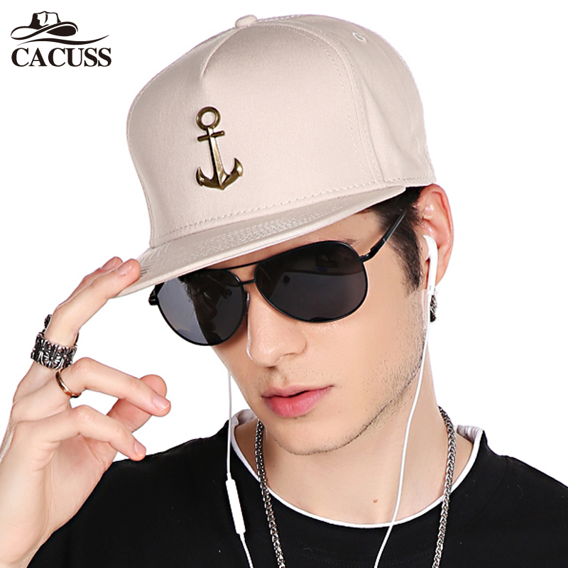 CACUSS New Metal Anchor Baseball Cap Men Hat Hip Hop Boys Fashion Solid Flat Snapback Caps Male Gorras 2017 adjustable snapback<br>