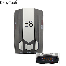 OkeyTecch E8 Best Cheap Metal Car Radar Detector Full Band 360 Degrees Detect Scanning Voice Anti-Police English Russian Warning(China)
