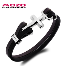 MOZO FASHION Male Vintage Leather Bracelet Stainless Steel Anchor Cross Bracelet Cool Men Personalized Jewelry Pulseras MPH1098