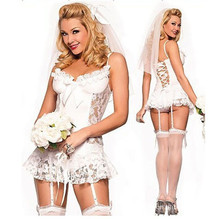 European American White Lace Bridal Wear Wedding Dress Sexy Lingerie Sexy Game Costume Cheap Lingerie(China)