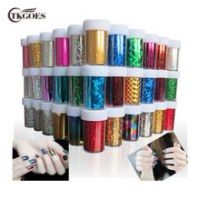 TKGOES 12 PCS/lot Designs Nail Art Transfer Foils Sticker,Free Adhesive Nail Polish Wrap,Nail Tips Decorations Accessories(China)
