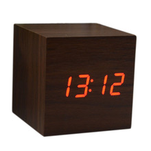 Wood Cube LED Alarm Control Digital Desk Clock Wooden Style Room Temperature Brown wood Red led