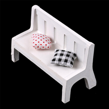 Fasion Cute Dollhouse Miniatures For Garden Outdoor decor Wooden Chair Bench Furniture Toys(China)