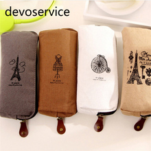 Retro Towers Linen Pencil Bags Paris Style Pencil Cases Stationery Material Escolar Office School Supplies Pencil Pouch