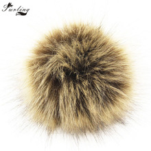 Furling DIY 12pcs Wholesale 10cm Soft Faux Fox Fur Pom Pom Ball for Knitting Hat Accessories KeyChain Accessory