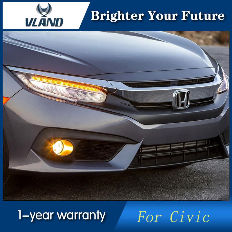 VLAND 2Pcs Car Head Lamp for Honda Civic 2016 LED ...