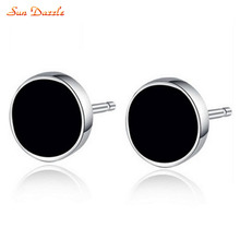 Genuine Real Pure Solid 925 Sterling Silver Stud Earrings for Men Fine Jewelry Black Round Stone Fashion Male Earrings Gift