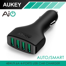 Aukey 4 Ports 48W/9.6A USB Car Charger Adapter with AIPower Tech Universal Car Charger for iPhone 8 X 7 HTC Mobile Phones Tablet(China)