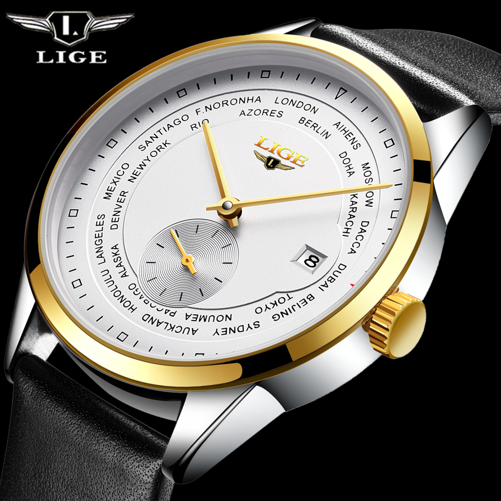 Fashion luxury brand LIGE automatic mechanical watch mens Watch Men Dive 50M Fashion Casual Leather strap Wristwatches relogio<br>