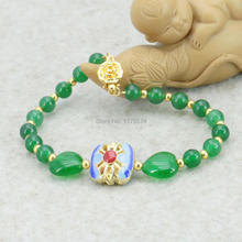 8mm Green Chalcedony Bracelet Christmas Gifts DIY Natural Stone Fashion Jewelry Making Design Ornament Christmas gifts 7.5inch(China)