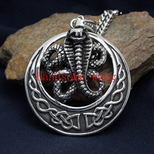 New Design Heavy Big Bike Silver Cobra Pendant Necklace Chain 316L Stainless Steel Mens Jewelry Punk Gothic 50mm*50mm Free Chain(China)