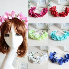 Newest 1Pcs Floral Flower Garland Crown Headband Hair Band Bridal Festival Holiday Wreath(China)