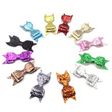 "30pcs/lot 3.8""-4'' Solid Leather Bow Without Clips Headwear Bowknot Hair Accessories Leather Synthetic Hair Wear Hair Bow(China)"