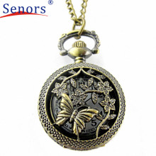 Superior Retro Bronze Butterfly and Flower Openwork Cover Pocket Quartz Watch August 1