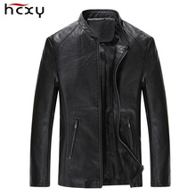 2016 new fashion leather jacket men Collar style Coat male Leather jacket for men casual work mens jackets and coats(China)