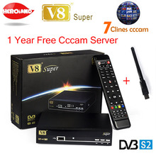 1 Year Europe Cccam Server HD Freesat V8 Super DVB-S2 Satellite Receiver 1080P Italy Spain Arabic Cccam 7 Clines With USB Wifi