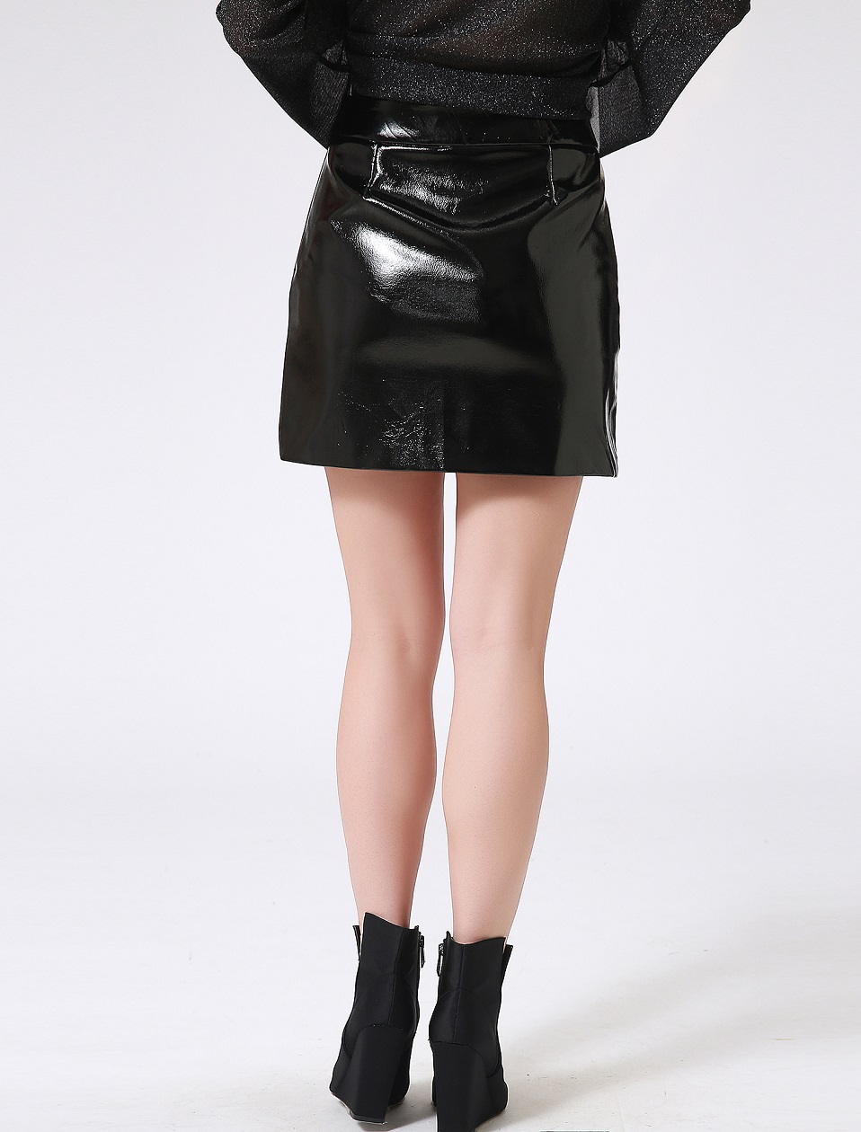 Autumn Winter Women Sexy Mini Skirt Black faux Patent Leather Female Short Pencil Skirt Zipper Fashion Streetwear Skirts Talever 7
