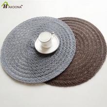 HAKOONA 2 Pieces Linen Fabric Round Placemats Braided Placemat Table Pads  Gray Brown 2 Colors