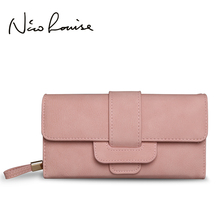 Women Fashion Leather Hasp Tri-Folds Wallet Portable Multifunction Long Change Purse Hot Female Pink Coin Zipper Clutch For Girl(China)