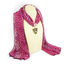 Hot selling leopard Print trendy pink panther pendant long scarf necklace New Design fashion attractive jewelry free shipping