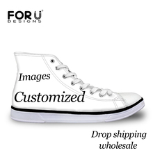 FORUDESIGNS Custom Images or Logo Men High Top Canvas Shoes Classis Lace-up Vulcanized Shoes Fashion Students Boys Flat Shoes(China)