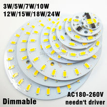 20pcs 220v 5730 SMD dimmable led pcb plate 3W 5W 7W 10W 12W 15W 18W 24W integrated ic driver lamp panel White Warm White