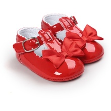 Hot New 0-18M Baby Girl First Walkers Lovely Soft Sole PU Princess Shoes Newborn  Infant Anti-slip Crib Shoes Toddler Bow Shoes(China)