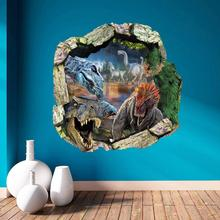 3D Scenery Wall Sticker Removable Cartoon dinosaur Wall Decals for kids rooms Child Wallpaper Art