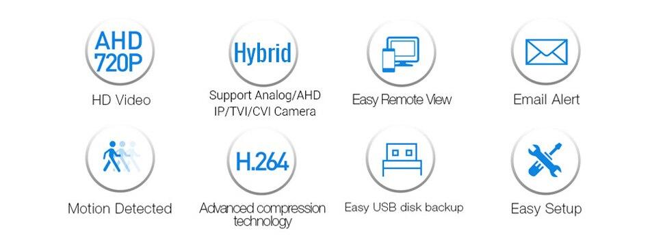 H.VIEW AHD DVR 8ch 4ch Recorder Surveillance 1TB HDD AHD DVR 8ch 4ch Recorder Surveillance for Analog TVI CVI IP Camera (2)