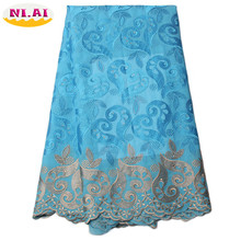 Free Shipping African Swiss Voile Lace High Quality ,Wedding Lace African Fabric 5 Yards 100% Cotton Swiss Voile Lace XY852B-1