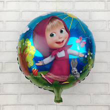 XXPWJ Free Shipping  round shape Martha and bear balloons for party cartoon foil balloons helium cartoon balloons for child gift