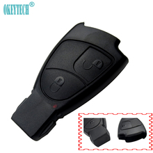 OkeyTech 2 Buttons Replacements Remote Car Key Fob Case Cover Benz Mercedes C E S M CLS CLK GLK GL Smart Key Card Logo