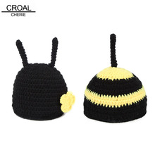 Cute Bee Baby Hat Newborn Photography Props Handmade Kids Suit Crochet Baby Clothes Clothing Knitted Animals Photos Bone