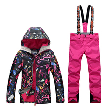 GsouSnow winter ladies, ski suits, outdoor windproof, waterproof, warm, black color mountaineering suit, emergency clothing