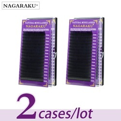 Nagaraku 2 чехла натуральная норка наращивание ресниц поддельные отдельные пучки ресниц все размеры ручной работы Премиум ресницы Черный