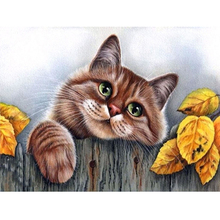 100% 5D Round diamond Mazayka Lazy Brown Cat Diamond painting cross stitch DIY sets 3D Resin Embroidery mosaic Drill Partterns