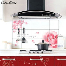 Wall Stickers DIY Kitchen Decor House Decals Aluminum Foil Wall Sticker Rose Restaurant Kitchen Removable Wall Stikers D12(China)