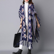 Rihschpiece 2017 Long Poncho Cardigan Women Sweater Knitted Cape Coat Tassel Oversize Sweaters Batwing Sleeve Cardigans RZF1289